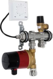 Блок терморегулирования петли водяного теплого пола (насос, электронный термостат с выносным датчиком)